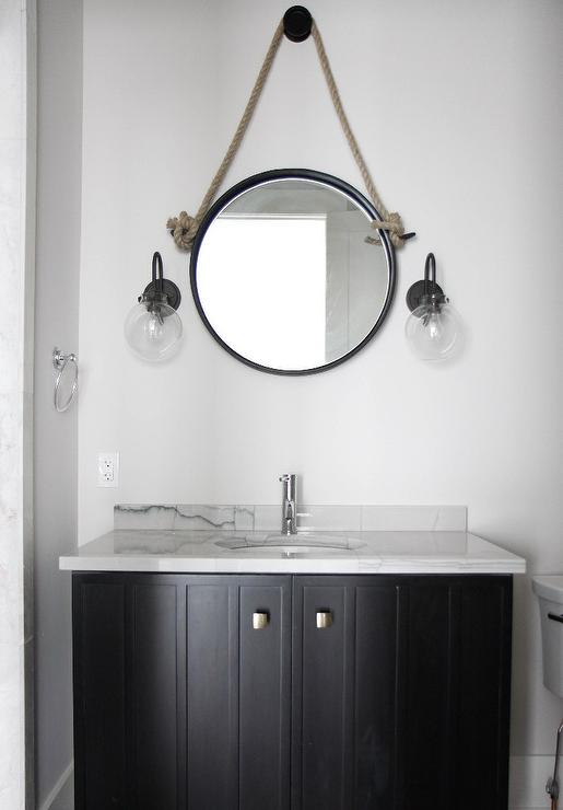 White And Black Cottage Powder Room With Rope Mirror