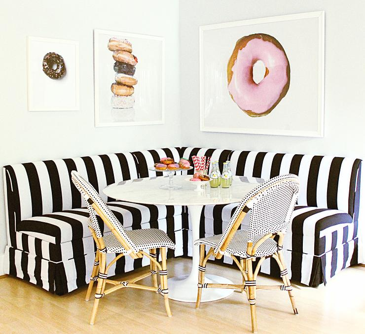 White And Black Striped Dining Banquette With Marble Saarinen Table