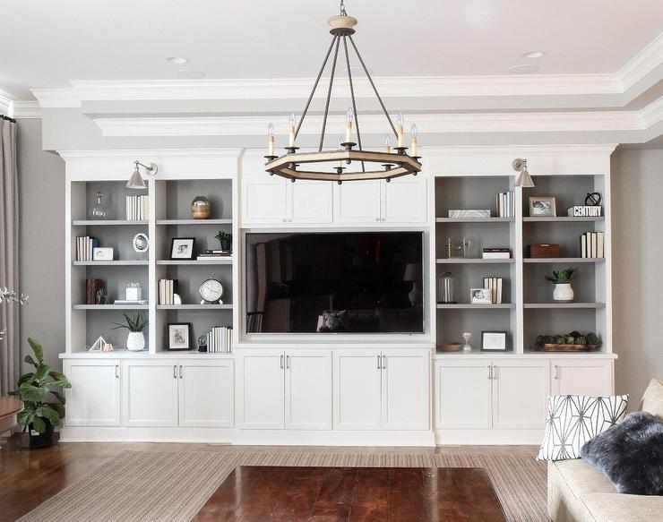 White Living Room Built In Shelves with Backs Painted ...