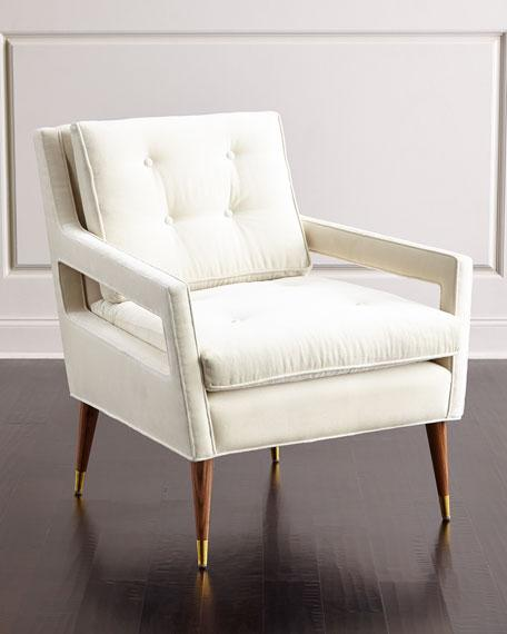 Ivory Tufted Back Wooden Legs Chair