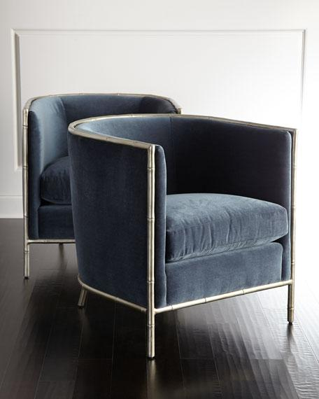 blue velvet accent chair Blue Velvet Bamboo Motif Accents Chair blue velvet accent chair