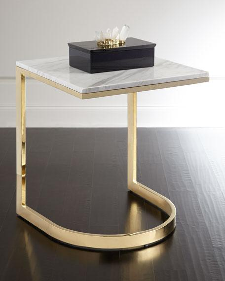 White Marble Brass Base End Table - Marble and brass end table