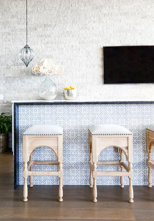 Stupendous Blue Hand Stamped Carrera Quatrefoil Tiles On Bar Island Gmtry Best Dining Table And Chair Ideas Images Gmtryco