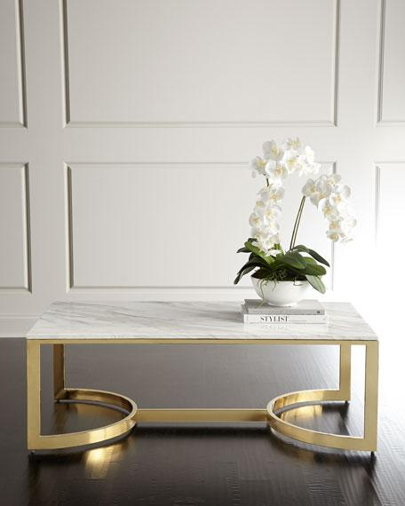 White Marble Rectangle Brass Base Coffee Table - Rectangle white marble coffee table