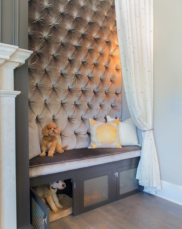 Gray Tufted Bench With Built In Dog Crate Transitional
