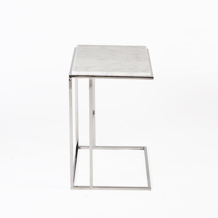 White Carrara C End Table