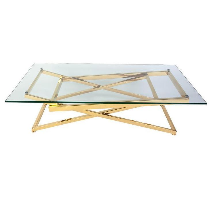 Gold Plated Stainless Steel Glass Coffee Table
