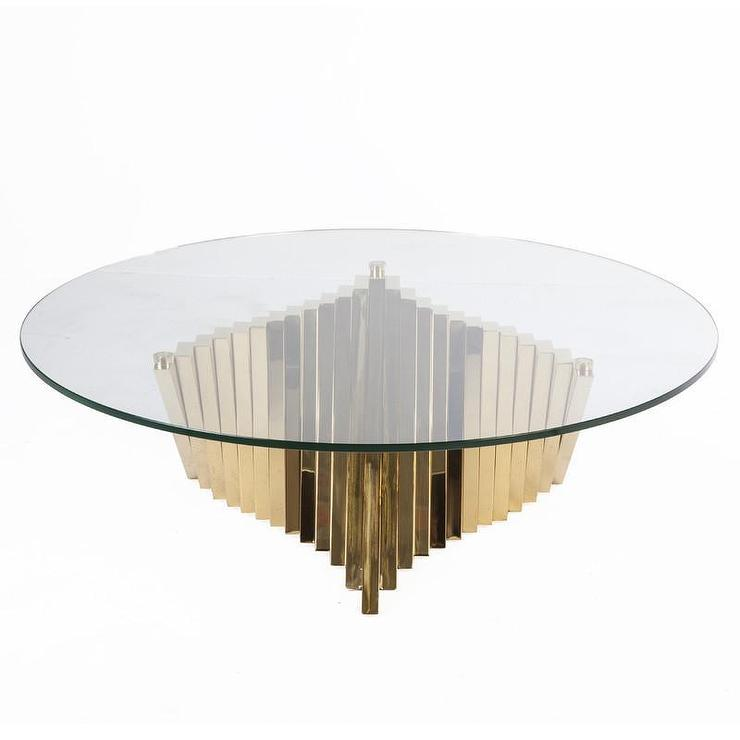 glass top gold base coffee table