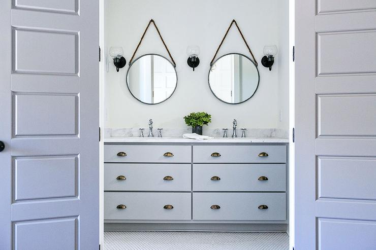 Gray Double Bath Vanity With Dark Nickel Cup Pulls And