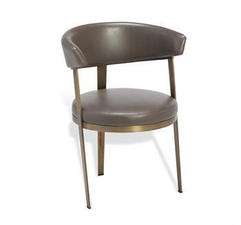 Gray Upholstered Round Back Dining Chair