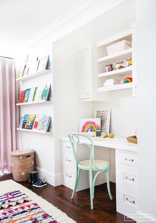 shelves over kids built in desk with light blue chair transitional rh decorpad com Small White Desks for Girls White Wooden Desks for Girls