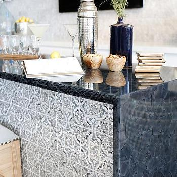 Awesome Bar Island With Blue Quatrefoil Tiles
