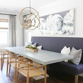 Rectangular Wood And Concrete Dining Table With Rope Sphere Chandelier