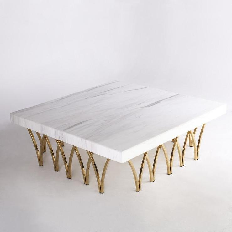 Carrara White And Gold Coffee Table