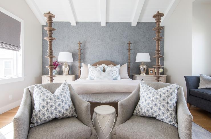 Awesome Gray Linen Bedroom Chairs With Blue Pillows Placed At Foot Ncnpc Chair Design For Home Ncnpcorg