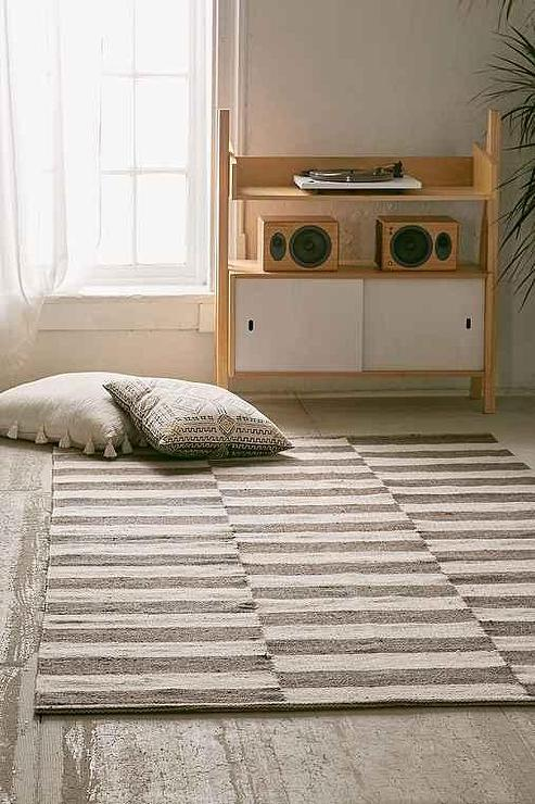 Gray And White Offset Stripes Wool Rug