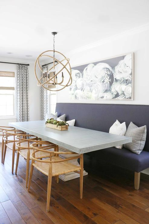 Rectangular Wood and Concrete Dining Table with Rope Sphere ...