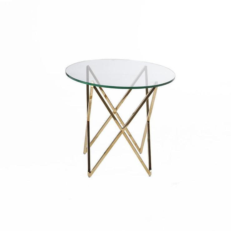 abigail stainless steel geometric base end table