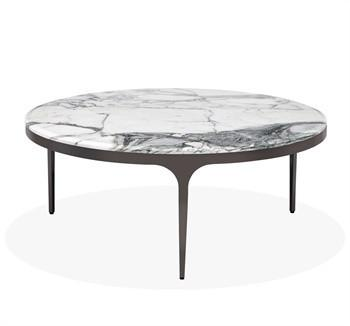 Black Round Greek Key Cocktail Table