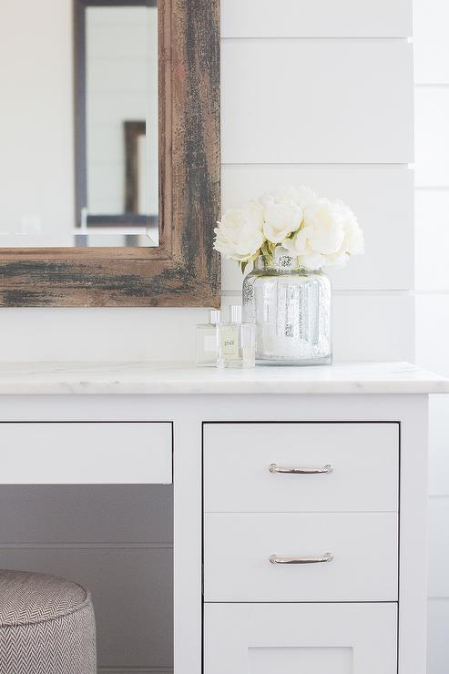 Excellent White Makeup Vanity With Gray Chevron Pouf Stool Cottage Ibusinesslaw Wood Chair Design Ideas Ibusinesslaworg