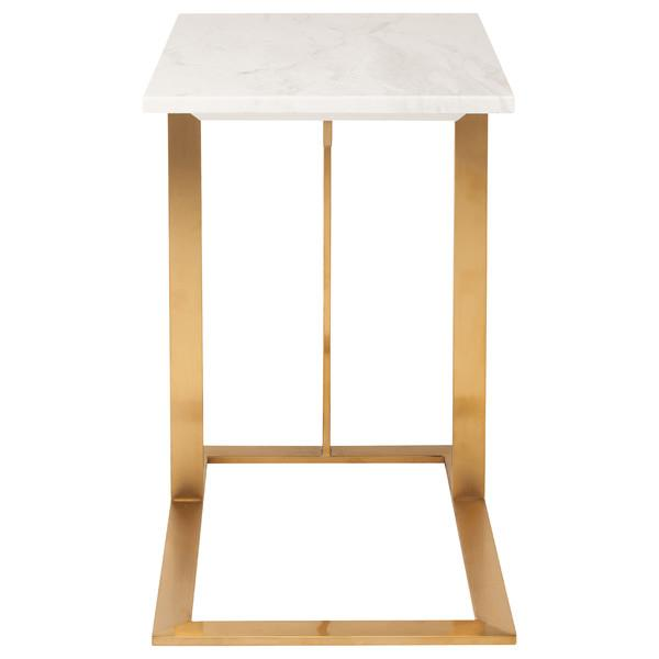 C Frame Gold And White End Table