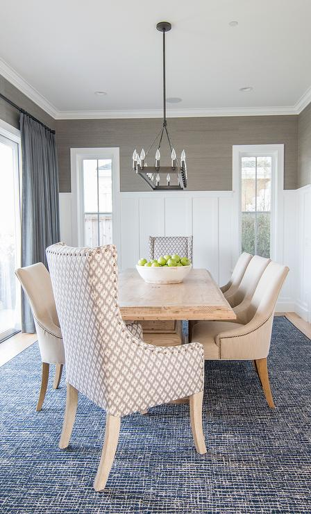 Blue And Gray Dining Room With Grasscloth Board Batten Trim