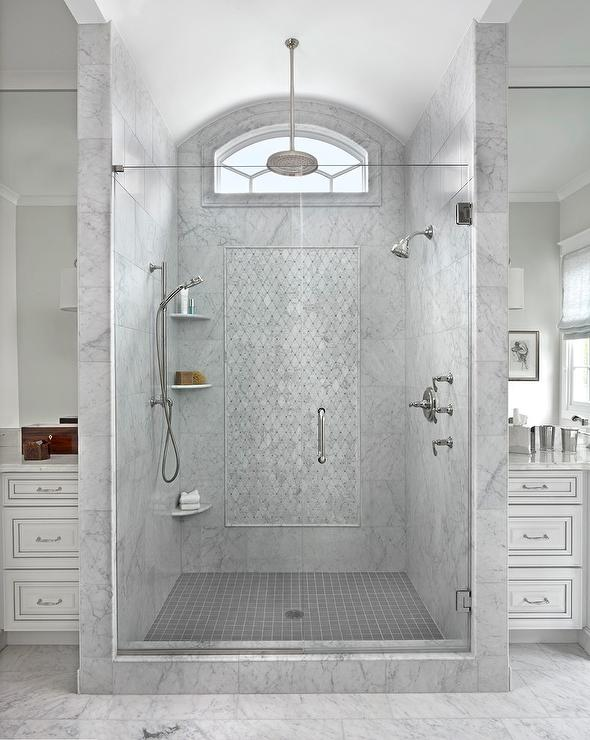Gray Marble Shower with Clerestory Window and Face to Face Shower Heads