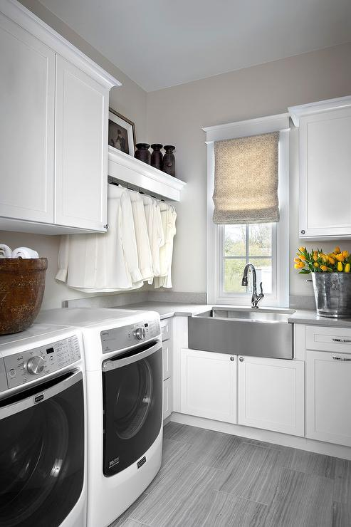 White And Gray Laundry Room With Stainless Steel Apron