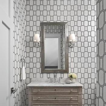 Gray Powder Room with French Washstand and Phillip Jeffries What a Gem Silver on White Manila