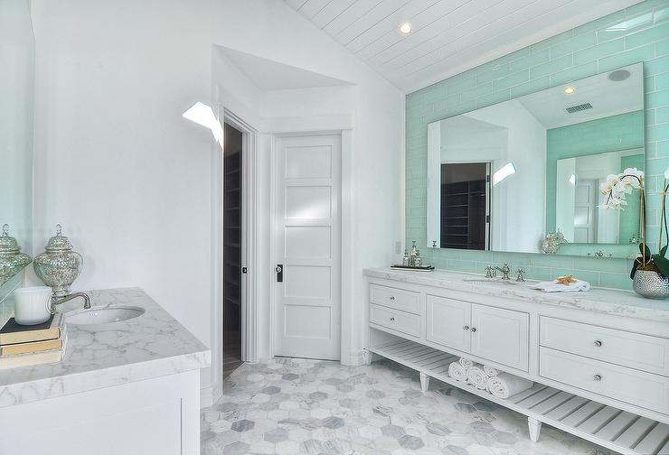 White Master Bathroom with Mint Green Tile Backsplash Transitional