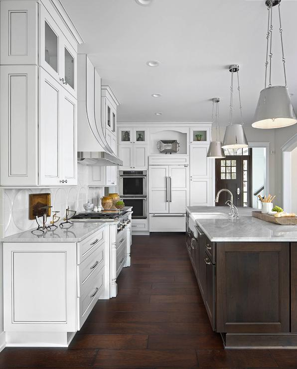 White kitchen with dark brown island and white marble for Dark brown kitchen ideas