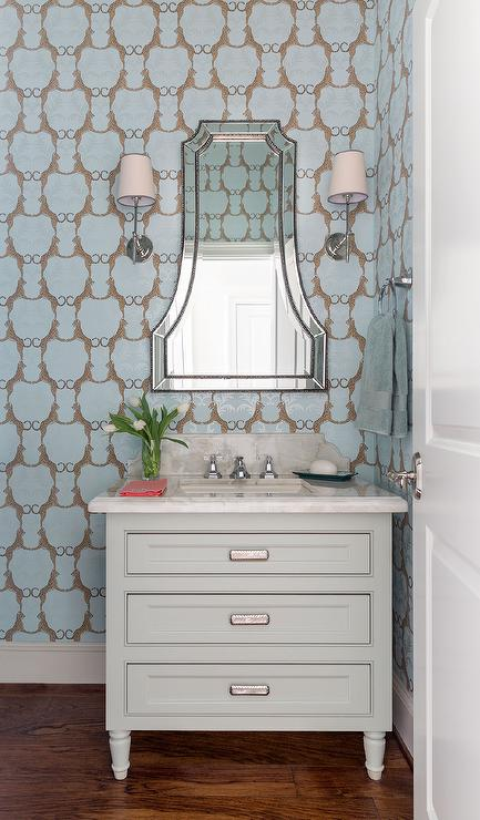 Blue Powder Room With Thibaut Cheetah Wallpaper