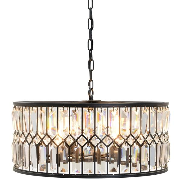 crystal shade drum pendant ceiling index chandelier metal tube chrome fixture round