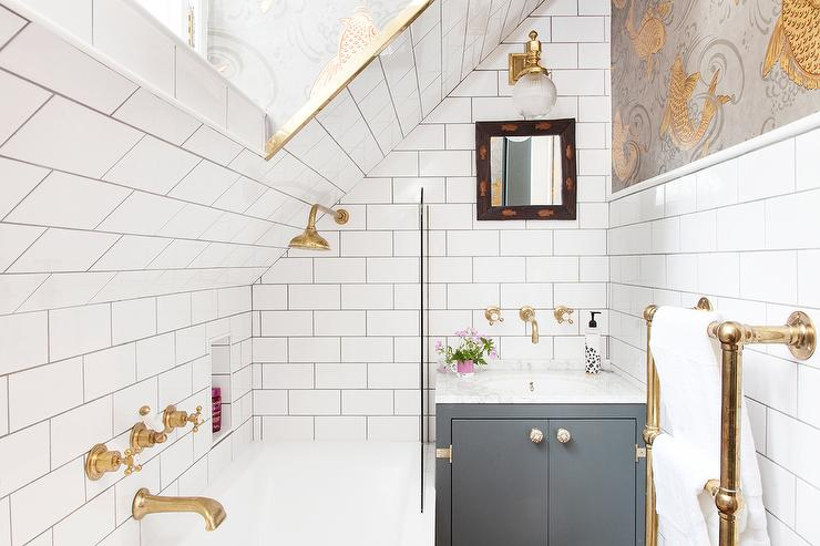 White And Gray Cement Bathroom Floor Tiles Transitional