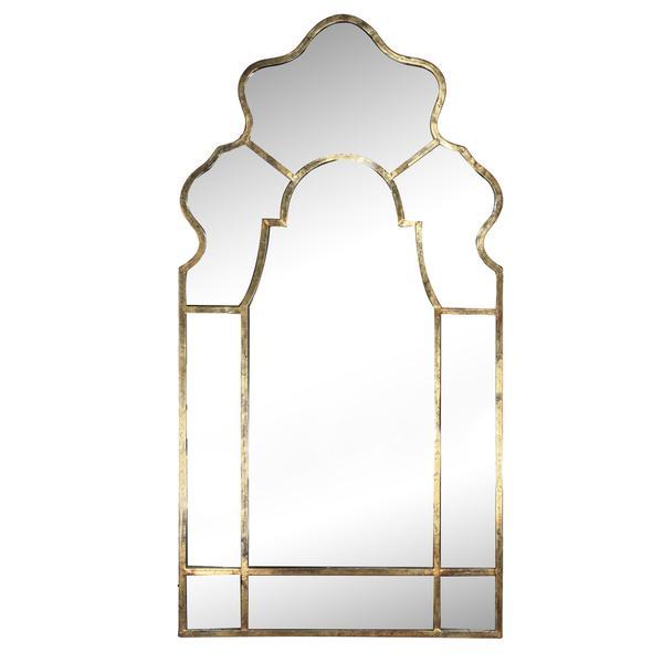 antique motif gold framed metal wall mirror