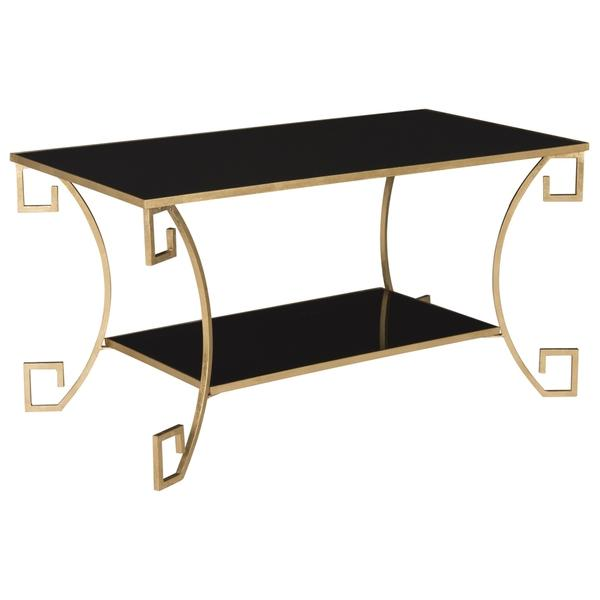 Antique Gold Leaf Black Greek Key Coffee Table