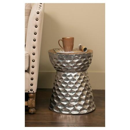 Silver Drum Hammered Side Table - Hammered silver side table