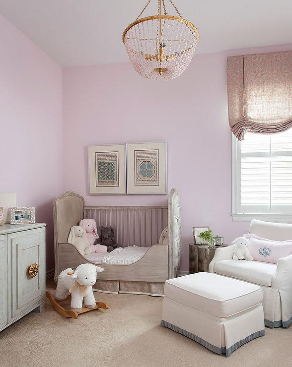 Lavender Girl Nursery With Gray French Crib Transitional