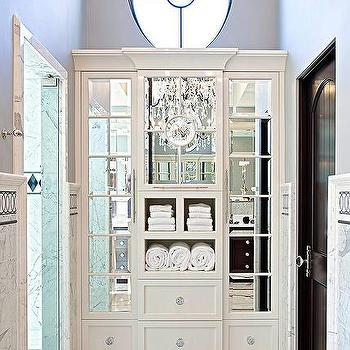White Built In Bathroom Linen Cabinets With Mirrored Doors