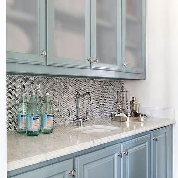Blue Bar Cabinets With Frosted Glass Doors