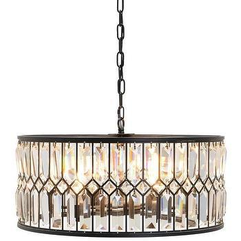 Cassiel dark bronze drum crystal chandelier bronze iron and crystal drum chandelier mozeypictures Images