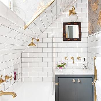 Gold And Gray Bathroom Wallpaper With Tub Below Sloped
