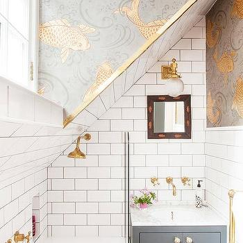 Marble Shelf Over Toilet Transitional Bathroom