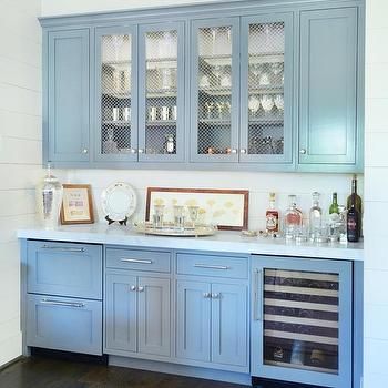 Gray Bar Cabinets With Stacked Fridge Drawers