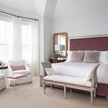 French Cane Bed with White and Brown Bedding - Transitional ...