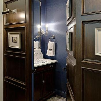 Hidden Powder Room with Dark Paneled Jib Door & Hidden Half Bath. Jib Door Design Ideas