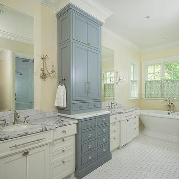 Two Tone Bathroom Cabinets Transitional Bathroom