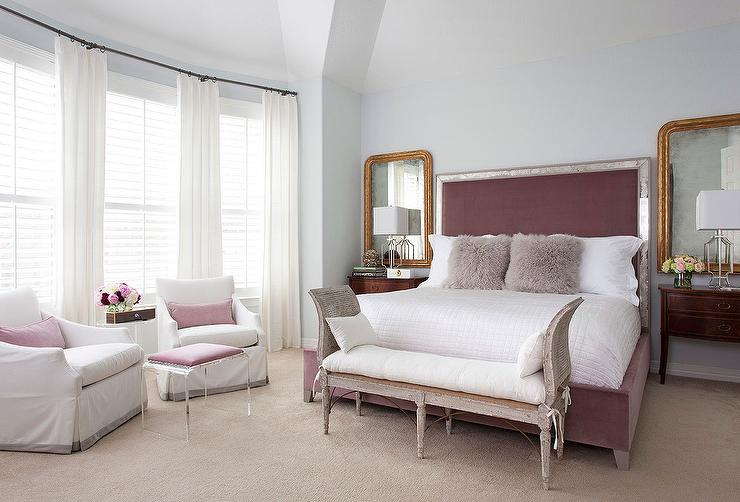 mauve bedroom with gray cane bench transitional bedroom