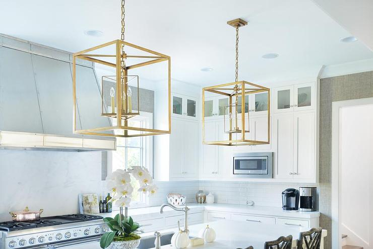 White And Gray Kitchen With Gold Lanterns Transitional Kitchen - Gold kitchen light fixtures