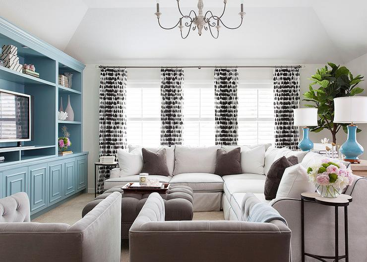 White And Brown Living Room With Tiffany Blue Accents Transitional Living Room